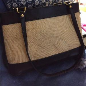 Handbags - Genuine leather accent w/ wicker combination